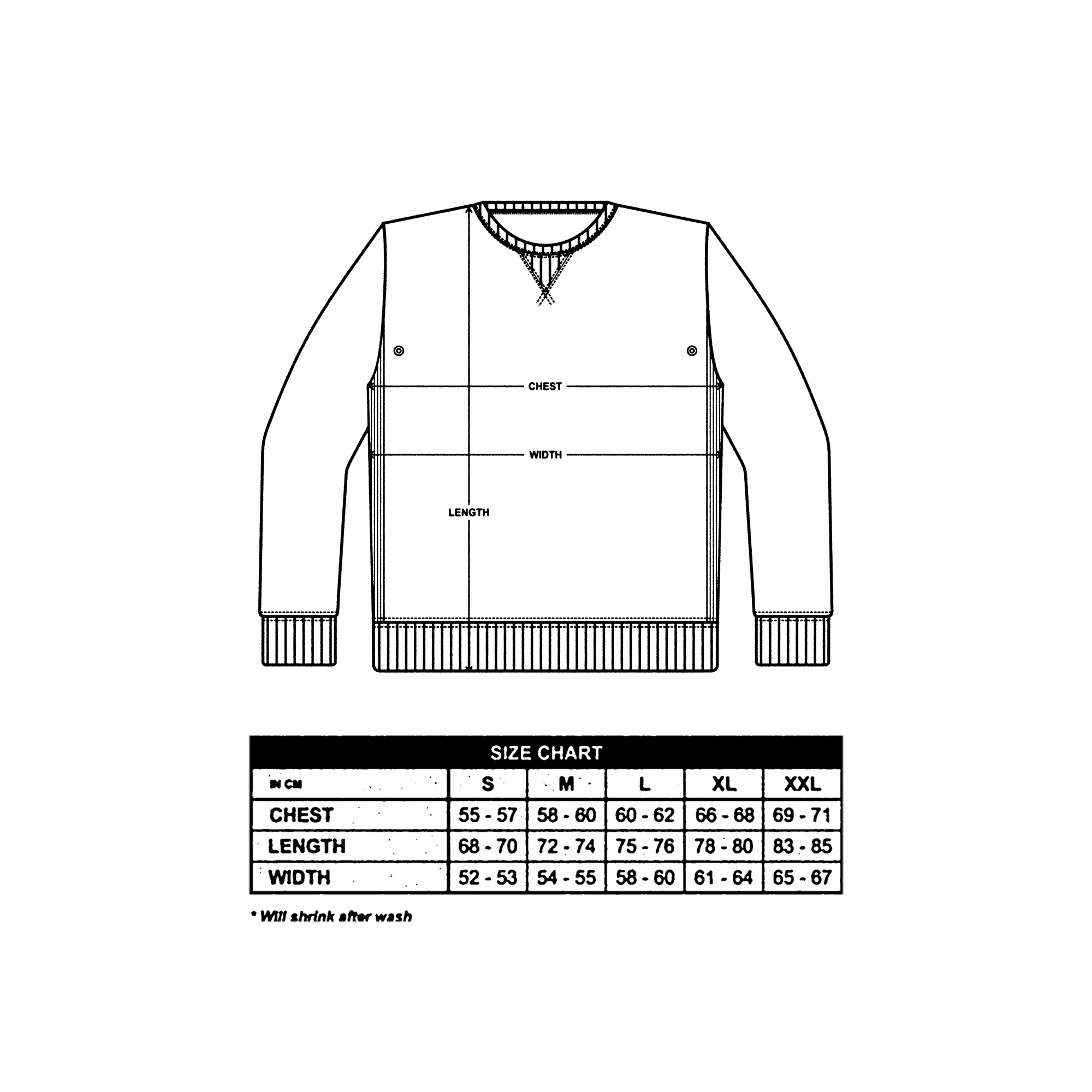 Crewneck Size Guide