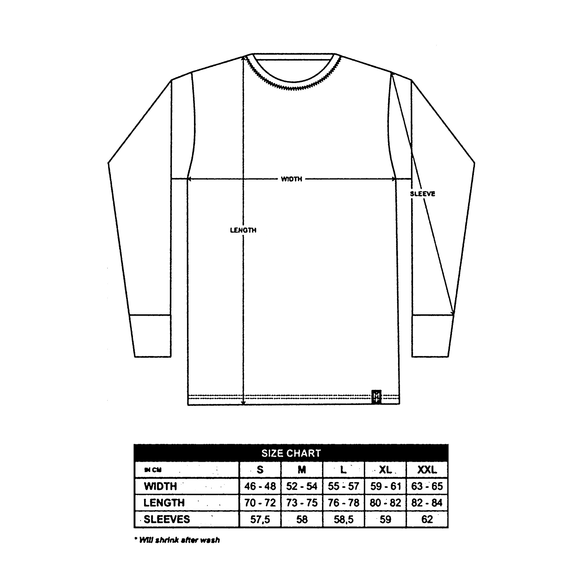 Long Sleeves Size Guide