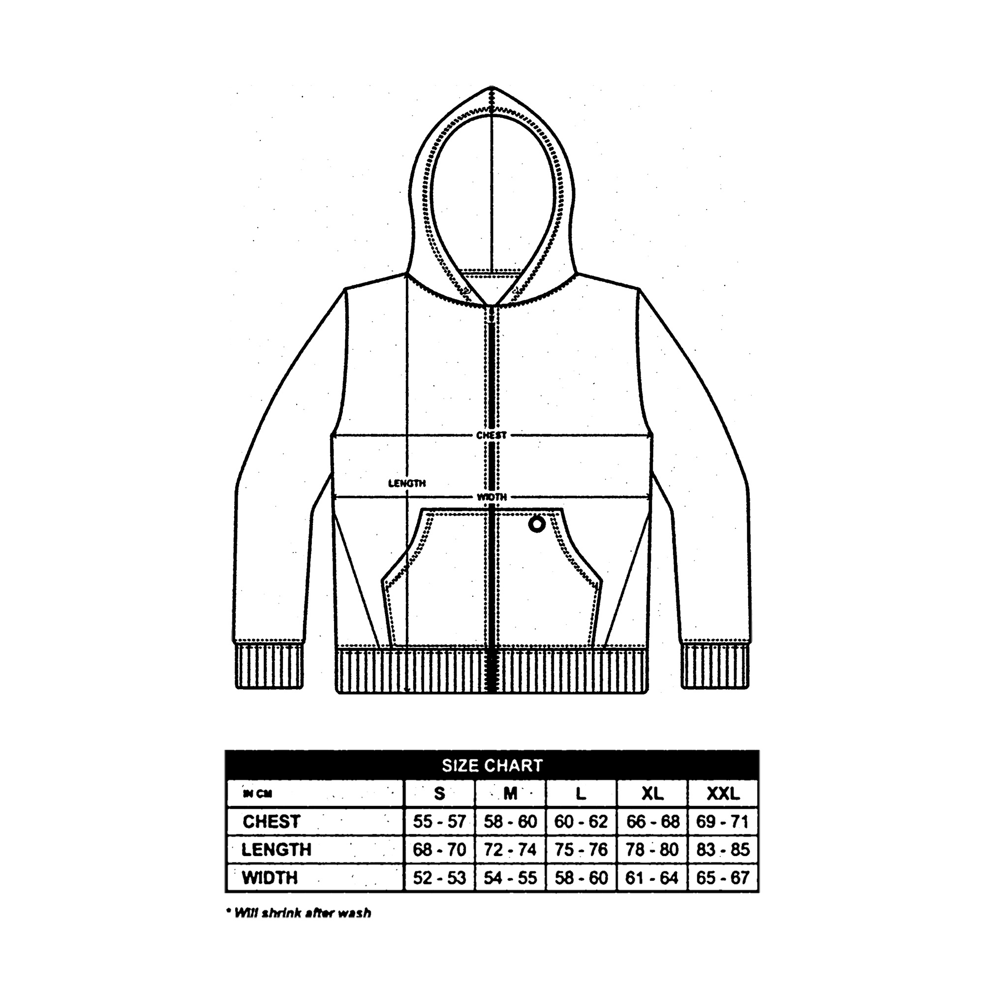 Zip Up Hoodies Size Guide